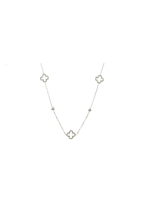 Necklace Long Hollow Clover Silver