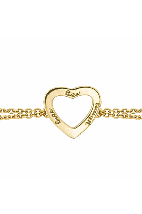 Yellow Gold Plated Live Laugh Love Chain Bracelet