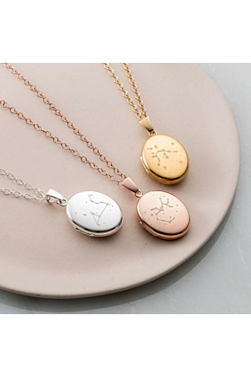 Personalised Zodiac Constellation Locket Necklace Yellow Gold Plated