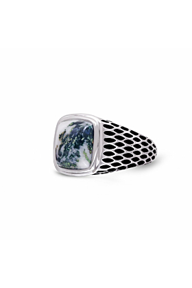 Black Rhodium Plated Silver & Tree Agate Stone Ring