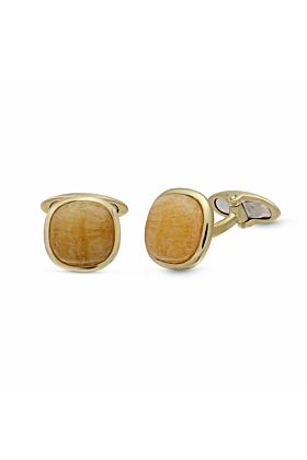 Yellow Gold Plated Yellow Lace Agate Stone Cufflinks