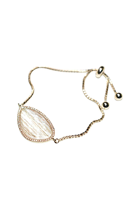 Yellow Gold Plated Abstract Halo Bracelet With Clear Glass Stone