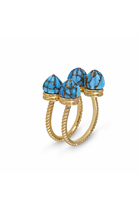 Yellow Gold Plated Sea Breeze Turquoise Ring