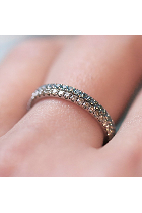 18kt Rose Gold Blue Topaz & White Diamonds Eternity Pair Ring