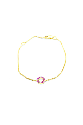 14kt Yellow Gold Pink Ruby Bracelet