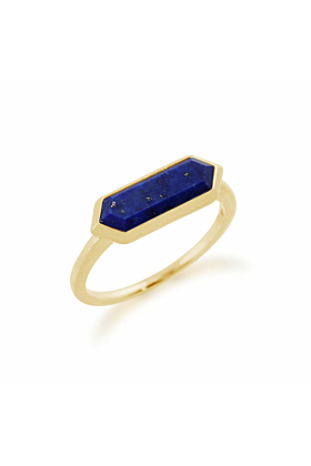 Gemondo Gold Plated Silver & Lapis Lazuli Hexagon Prism Ring