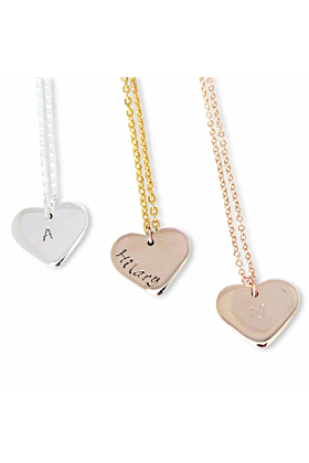 9kt White Gold Personalised Love Heart Necklace