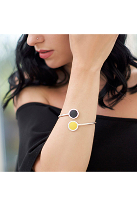 Sterling Silver & Yellow & Black Leather Bangle
