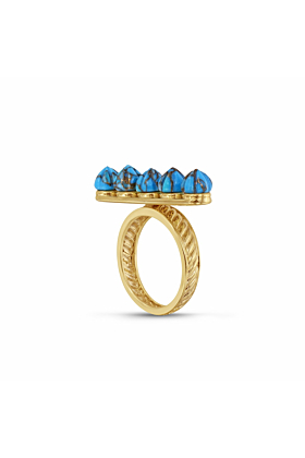 14kt Yellow Gold Plated Silver Summer Nights Turquoise Multistone Ring & Pendant