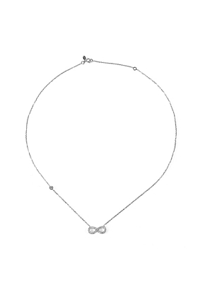 Rhodium Plated Eternity Necklace