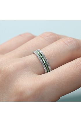 18kt White Gold Green Goddess 3 Eternity Ring