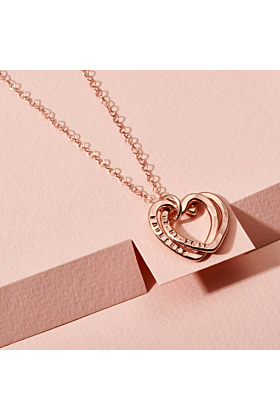 Personalised Interlinking Hearts Necklace Rose Gold Plated