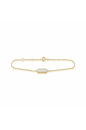 Gemondo Yellow Gold Plated Silver & Mother of Pearl Hexagon Prism Bracelet