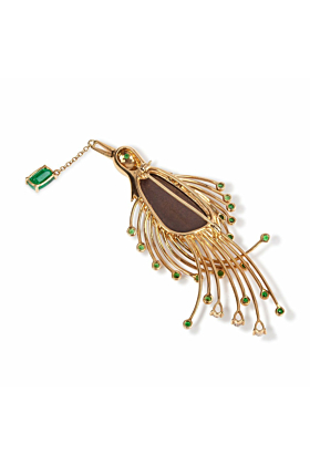 Bird of Paradise Opal Brooch 18kt Yellow Gold
