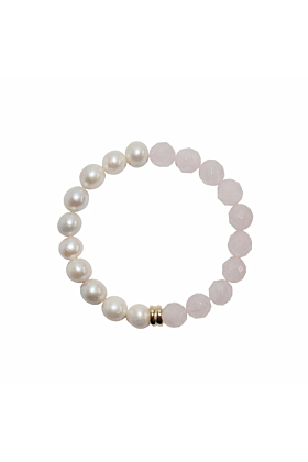 14kt Yellow Gold Plated Pearl & Rose Quartz Orbis Bracelet