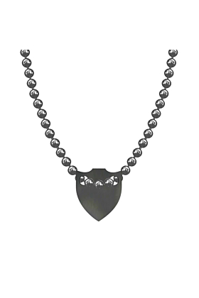 Made In Britain Necklace - Black Rhodium Plated Spiked Shield