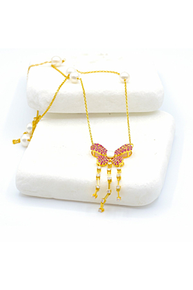14kt & 18kt Yellow Gold Diamond, Ruby, & Pearl Butterfly Statement Necklace