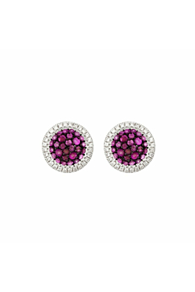 18kt White Gold Ruby and Diamond Studs