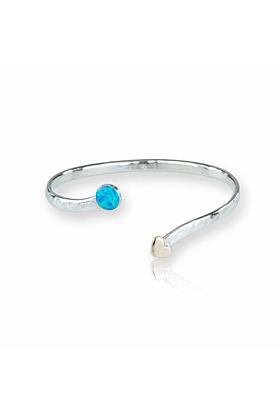 Gold, Sterling Silver & Opal Heart Bangle