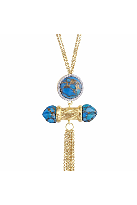 14kt Yellow Gold Plated Silver & Diamond Sunkissed Turquoise Necklace