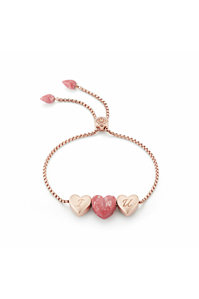 Luv Me Pink Thulite Adjustable Heart Bracelet