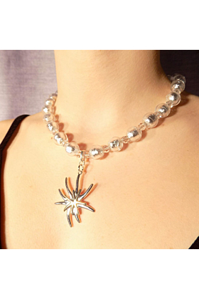 Murano Glass Bead Mountain Flower Necklace