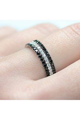 18kt White Gold Back to Black 3-Ring Combination
