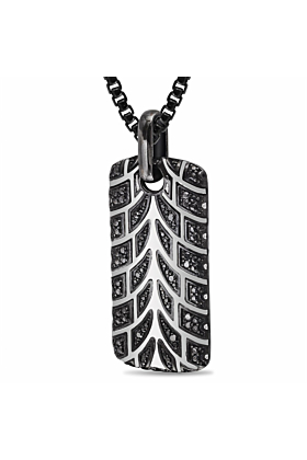 Rhodium Plated Silver Racer Swag Tire Tread & Black Diamond Tag