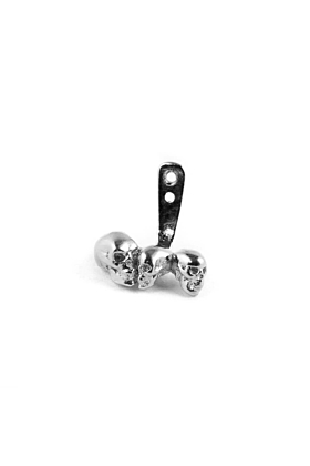 Rhodium Chattering Skull Ear Jacket