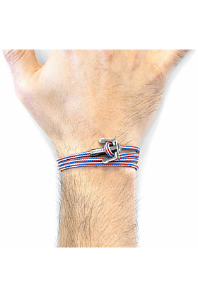 Project-RWB Red White and Blue Union Anchor Silver and Rope Bracelet