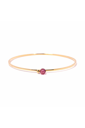 Gold & Pink Tourmaline Satellite Bangle