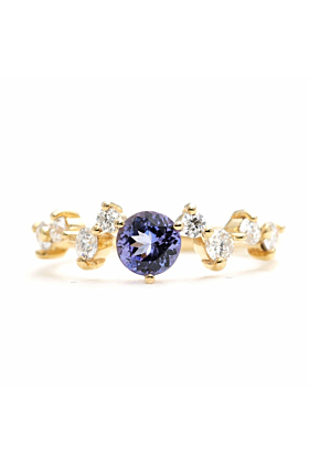 14kt Gold & Round Tanzanite Diamond Engagement Ring