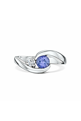 "Palladium & Tanzanite ""You Complete Me"" Engagement Ring 