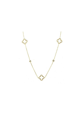 Necklace Long Hollow Clover Gold