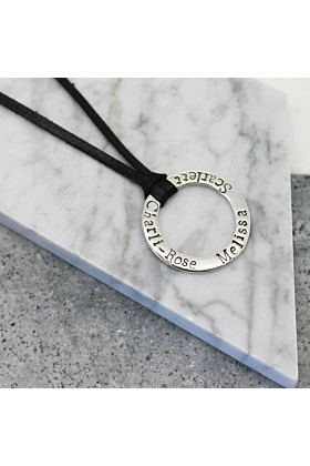 Sterling Silver Personalised Circle Pendant