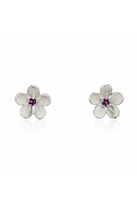 Small Silver Cherry Blossom Stud Earrings With Garnets
