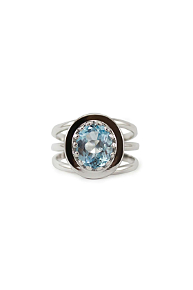 Rhodium Plated Silver Luccichio Blue Topaz Spiral Ring