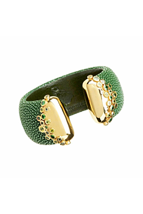 Sahar, Sapin Green Stingray Leather Bangle