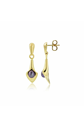 9kt Gold Small Drop Lily Pearl Earrings