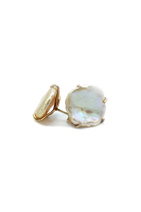 18kt Rose Gold Baroque Pearl Earrings