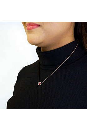 18kt Rose Gold Organic Shaped Ruby & Diamond Necklace