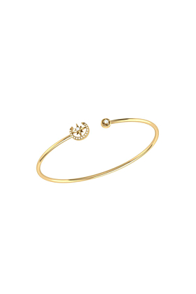 Yellow Gold Plated North Star Crescent Cuff