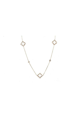 Necklace Long Hollow Clover Rose Gold