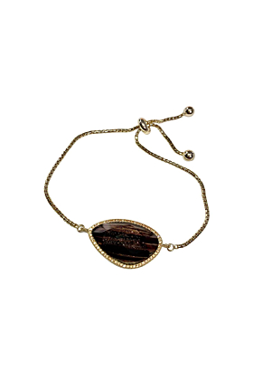 Yellow Gold Plated Abstract Halo Bracelet With Black Glass Stone