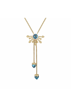 Yellow Gold Plated Silver & Turquoise Golden Rays Necklace