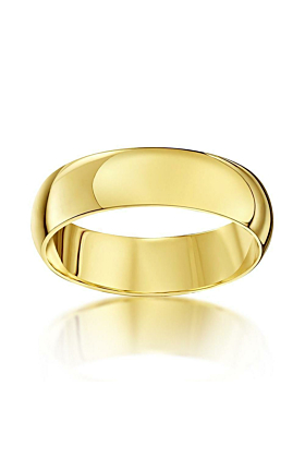 9kt Yellow Gold Heavy D-Shape Wedding Ring