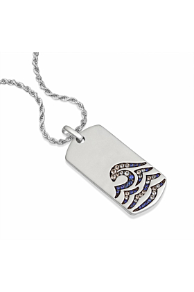 Sterling Silver & Blue Sapphire Breaking Waves Tag