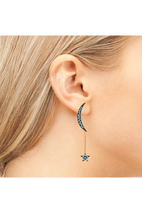 Yellow Gold Plated Moon & Star Earrings With Turquoise Cubic Zirconia