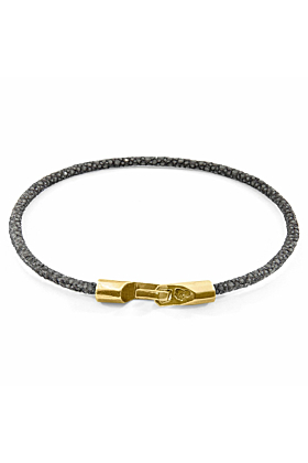 9kt Yellow Gold & Stingray Leather Shadow Grey Talbot Bracelet