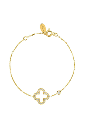 Yellow Gold Plated Open Clover Bracelet